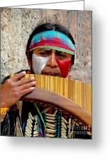 Quechuan Pan Flute Player Greeting Card by Al Bourassa