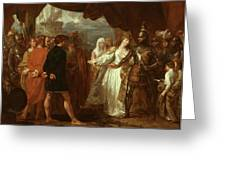 Queen Philippa Interceding For The Lives Of The Burghers Of Calais Greeting Card by Benjamin West