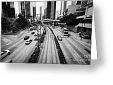 Queensway And Queens Road East In The Admiralty District Hong Kong Island Hksar China Greeting Card by Joe Fox