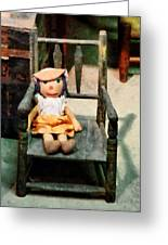 Rag Doll In Chair Greeting Card by Susan Savad