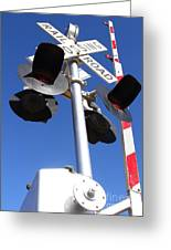 Railroad Crossing Sign And Gate . 7d10645 Greeting Card by Wingsdomain Art and Photography