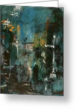 Rain In The Night City Greeting Card by David Finley