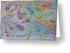 Rainbow Fish Mosaic Tile Abstract Greeting Card by Debbie Portwood