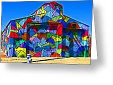 Rainbow Jug Building Greeting Card by Samuel Sheats