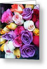 Rainbow Rose Bouquet Greeting Card by Anna Villarreal Garbis