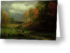 Rainy Day In Autumn Greeting Card by Albert Bierstadt