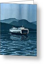 Rainy Ferry Greeting Card by Scott Nelson