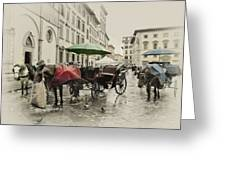Rainy Lunch Greeting Card by Lynn Andrews