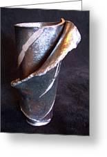 Raku Slab Wrapped Vase Greeting Card by Carolyn Coffey Wallace