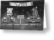 Rat Race In Black And White Greeting Card by Leah Saulnier The Painting Maniac