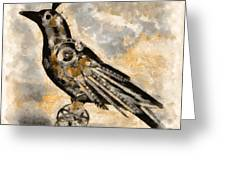 Raven - Steampunk Greeting Card by Shabbir Degani