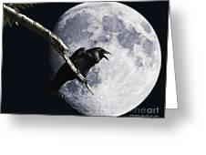 Raven Barking At The Moon Greeting Card by Wingsdomain Art and Photography