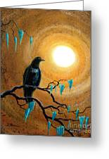 Raven In Dark Autumn Greeting Card by Laura Iverson