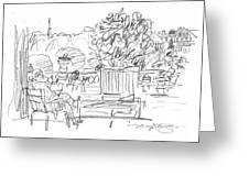 Reading In The Luxembourg Gardens Greeting Card by Marilyn MacGregor