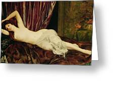 Reclining Nude Greeting Card by Henri Fantin Latour