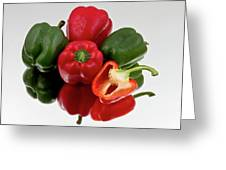 Red And Green Bell Peppers On Reflective Bacground Greeting Card by Gert Lavsen