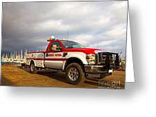 Red And White Harbor Patrol Vehicle Greeting Card by David Buffington