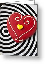 Red And Yellow Heart Greeting Card by Garry Gay