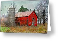 Red Barn Greeting Card by Mary Timman
