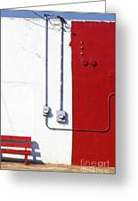 Red Bench White Wall Greeting Card by Elena Nosyreva