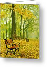 Red Benches In The Park Greeting Card by Jaroslaw Grudzinski
