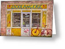 Red Bike At The Boulangerie Greeting Card by Debra and Dave Vanderlaan