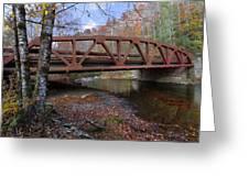 Red Bridge Greeting Card by Debra and Dave Vanderlaan