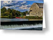 Red Canoes At The Boathouse Greeting Card by Paul Ward