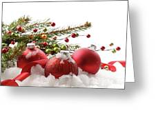 Red Christmas Balls In The Snow  Greeting Card by Sandra Cunningham