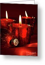 Red Christmas Balls With Bows On White Greeting Card by Sandra Cunningham