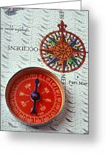 Red Compass And Rose Compass Greeting Card by Garry Gay