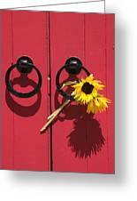 Red Door Sunflowers Greeting Card by Garry Gay