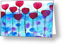 Red Flowers Watercolor Painting Greeting Card by Karen Pappert