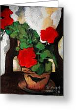 Red Geranium Greeting Card by Mona Edulesco