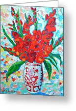 Red Gladiolus Greeting Card by Ana Maria Edulescu