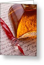Red Glass Pen  Greeting Card by Garry Gay