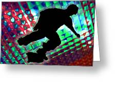 Red Green And Blue Abstract Boxes Skateboarder Greeting Card by Elaine Plesser