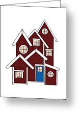 Red Houses Greeting Card by Frank Tschakert