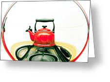Red Kettle Greeting Card by Tom Gowanlock