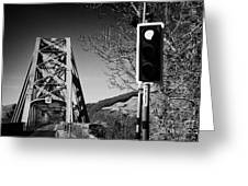 red light traffic control at the single track connel bridge on the a828 coastal route road over loch Greeting Card by Joe Fox