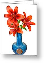 Red Lilies In Blue Vase Greeting Card by Susan Leggett