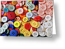 Red lips button Greeting Card by Garry Gay
