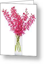 Red Orchid In Vase Greeting Card by Atiketta Sangasaeng