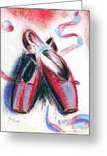 Red Pointe Shoes On White In Blue Light Greeting Card by Ben Hardy