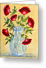 Red Poppies In A Vase Greeting Card by Kimberlee Weisker