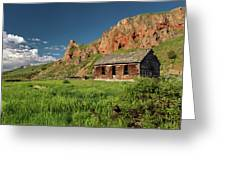Red Rock Cabin Greeting Card by Leland D Howard