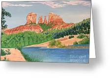 Red Rock Crossing Greeting Card by Aimee Mouw