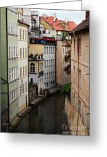 Red Rooftops In Prague Canal Greeting Card by Linda Woods
