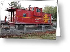 Red Sante Fe Caboose Train . 7D10329 Greeting Card by Wingsdomain Art and Photography