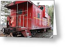 Red Sante Fe Caboose Train . 7d10330 Greeting Card by Wingsdomain Art and Photography